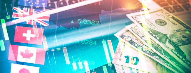 Forex Markets Currency Trading Global Economy Concept. United Kingdon Pund, European Euro, American and Canadian Dollar, Japanese Yen Currency